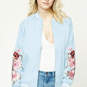 Forever 21 Contemporary Satin Floral Bomber Jacket